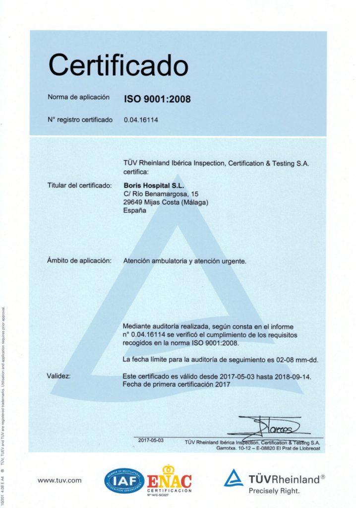 """Clínica """"Boris"""" recibió el más alto estándar de calidad certificado ISO 9001 instituciones médicas"""